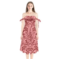 Red Floral Pattern Shoulder Tie Bardot Midi Dress