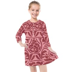Red Floral Pattern Kids  Quarter Sleeve Shirt Dress by tarastyle