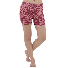 Red Floral Pattern Lightweight Velour Yoga Shorts by tarastyle