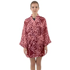 Red Floral Pattern Long Sleeve Kimono Robe by tarastyle