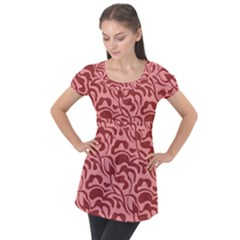 Red Floral Pattern Puff Sleeve Tunic Top by tarastyle