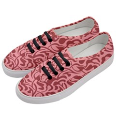 Red Floral Pattern Women s Classic Low Top Sneakers by tarastyle