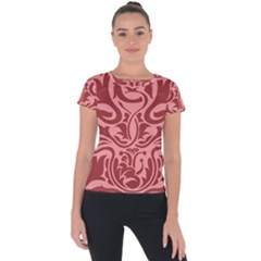 Red Floral Pattern Short Sleeve Sports Top  by tarastyle