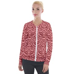 Red Floral Pattern Velour Zip Up Jacket