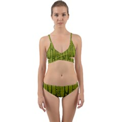 Fern Texture Nature Leaves Wrap Around Bikini Set