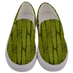 Fern Texture Nature Leaves Men s Canvas Slip Ons
