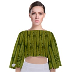 Fern Texture Nature Leaves Tie Back Butterfly Sleeve Chiffon Top