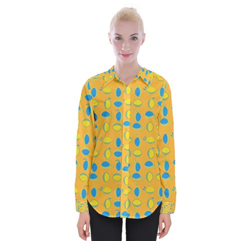 Lemons Ongoing Pattern Texture Womens Long Sleeve Shirt by Mariart