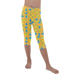 Lemons Ongoing Pattern Texture Kids  Lightweight Velour Capri Leggings  by Mariart