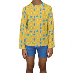 Lemons Ongoing Pattern Texture Kids  Long Sleeve Swimwear by Mariart