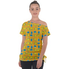 Lemons Ongoing Pattern Texture Tie Up Tee by Mariart