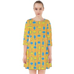 Lemons Ongoing Pattern Texture Smock Dress
