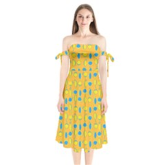 Lemons Ongoing Pattern Texture Shoulder Tie Bardot Midi Dress