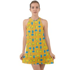Lemons Ongoing Pattern Texture Halter Tie Back Chiffon Dress by Mariart