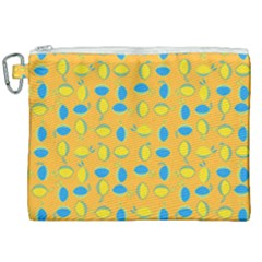 Lemons Ongoing Pattern Texture Canvas Cosmetic Bag (xxl)