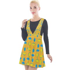 Lemons Ongoing Pattern Texture Plunge Pinafore Velour Dress