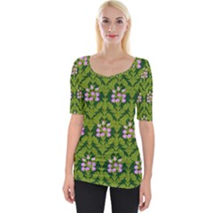 Pattern Nature Texture Heather Wide Neckline Tee by Alisyart