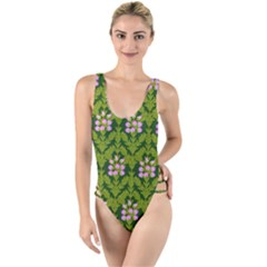 Pattern Nature Texture Heather High Leg Strappy Swimsuit