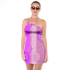 Ring Kringel Background Abstract Purple One Soulder Bodycon Dress