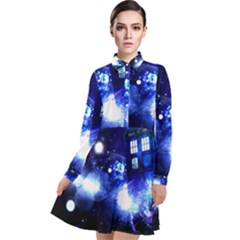 Tardis Background Space Long Sleeve Chiffon Shirt Dress