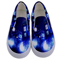 Tardis Background Space Kids  Canvas Slip Ons