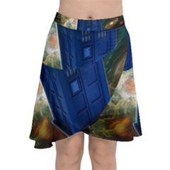 The Police Box Tardis Time Travel Device Used Doctor Who Chiffon Wrap Front Skirt