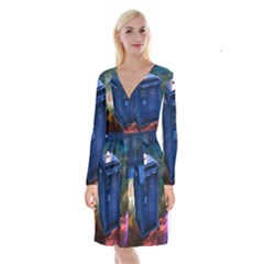 The Police Box Tardis Time Travel Device Used Doctor Who Long Sleeve Velvet Front Wrap Dress