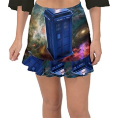 The Police Box Tardis Time Travel Device Used Doctor Who Fishtail Mini Chiffon Skirt