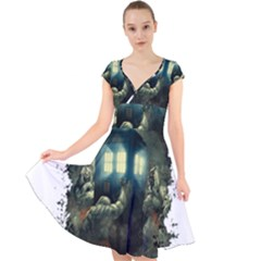 Time Machine Doctor Who Cap Sleeve Front Wrap Midi Dress