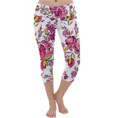 Fancy Floral Pattern Capri Yoga Leggings by tarastyle