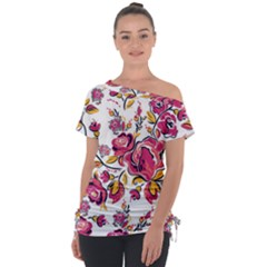 Fancy Floral Pattern Tie Up Tee by tarastyle