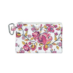 Fancy Floral Pattern Canvas Cosmetic Bag (small) by tarastyle
