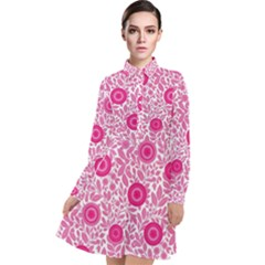 Fancy Floral Pattern Long Sleeve Chiffon Shirt Dress