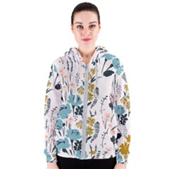 Fancy Floral Pattern Women s Zipper Hoodie by tarastyle