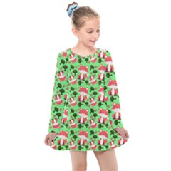 Fox And Trees Pattern Green Kids  Long Sleeve Dress by snowwhitegirl