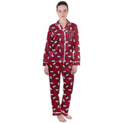 Bento Lunch Red Satin Long Sleeve Pyjamas Set
