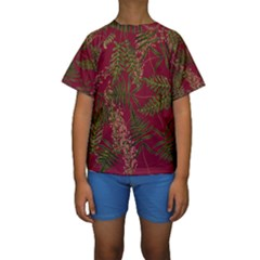 Fern Red Kids  Short Sleeve Swimwear by snowwhitegirl