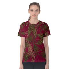 Fern Red Women s Cotton Tee by snowwhitegirl
