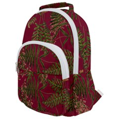 Fern Red Rounded Multi Pocket Backpack