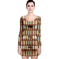 Candy Popsicles Brown Long Sleeve Bodycon Dress