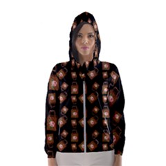 Shopping Bag Pattern Black Women s Hooded Windbreaker