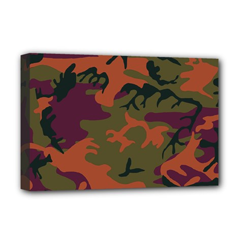 Camouflage Orange Deluxe Canvas 18  X 12  (stretched) by snowwhitegirl