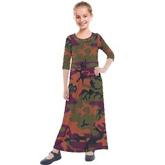 Camouflage Orange Kids  Quarter Sleeve Maxi Dress by snowwhitegirl