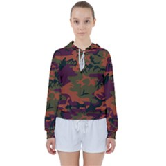 Camouflage Orange Women s Tie Up Sweat by snowwhitegirl