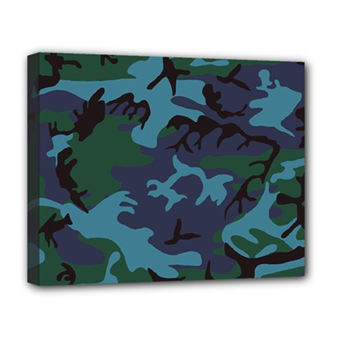 Camouflage Blue Deluxe Canvas 20  X 16  (stretched)