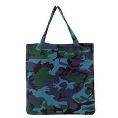Camouflage Blue Grocery Tote Bag by snowwhitegirl