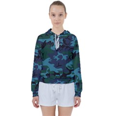 Camouflage Blue Women s Tie Up Sweat by snowwhitegirl