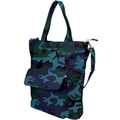 Camouflage Blue Shoulder Tote Bag by snowwhitegirl