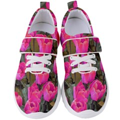 Pink Tulips Women s Velcro Strap Shoes