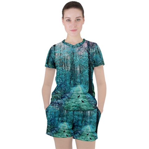 Blue Forest Women s Tee And Shorts Set by snowwhitegirl
